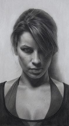 """Laura"" - David Jon Kassan, 1-hour charcoal on toned paper, 2009 {contemporary figurative realism artist beautiful female head décolletage woman face portrait b+w drawing #loveart} davidkassan.com"