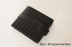 革紐を編み込んだスマートな二つ折り財布(小銭入れなし) BLACK