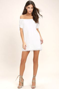 Lulus Exclusive! Catch some rays in the Moment In The Sun White Lace Off-the-Shoulder Dress! Woven poly falls from an elasticized off-the-shoulder neckline into short sleeves with tying cuffs, and a shift silhouette finished with crochet lace trim.