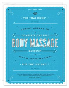 Body Massage Contract Card