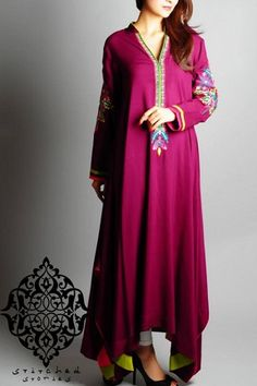 Beautiful Magenta Pakistani Clothes by Stitched Stories 2014