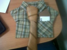 "Fathers Day Craft! Childs dress shirt and tie from good will. Hot glued to cardboard. Add a personal note or poem on paper as a ""handkerchief"" to stick in the front pocket!"
