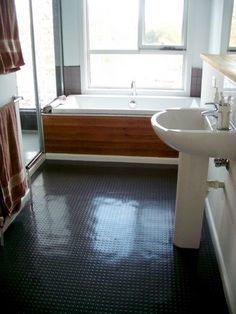 We don't like the bathroom look per se, it's all about the use of recycled rubber flooring.  http://www.ecofloors.co.nz/recycled_rubber