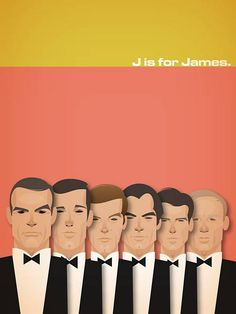 James Bond caricatures - love seeing everyone from Sean Connery to Pierce Brosnan! Not sure the last one really looks like Daniel Craig :P James Bond Party, James Bond Movies, James Movie, Roger Moore, William Boyd, Estilo James Bond, Stanley Chow, Handwritten Text, Cinema Tv