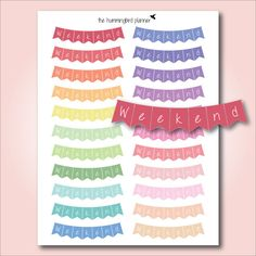 Pastel Curved Weekend Banners | Printable Planner Stickers for Erin Condren…