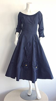 Stunning 1950s Hattie Carnegie Navy Blue Silk Taffeta 3 - D Flower Dress | From a collection of rare vintage evening dresses at https://www.1stdibs.com/fashion/clothing/evening-dresses/