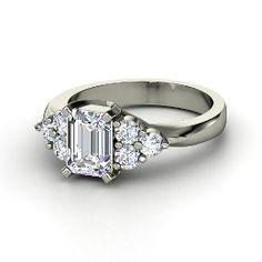 Apex Ring, Emerald-Cut Diamond White Gold Ring from Gemvara