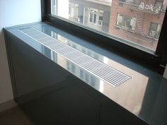 Features fixed mullions with separate stool top, removable front panels for easy access, high-quality anodized aluminum extruded grilles, electrical knockouts and stamped louvres in base of front panel. Radiator Cover, Extruded Aluminum, Baseboards, Radiators, Easy Access, Cover Design, Separate, Stool, Colours