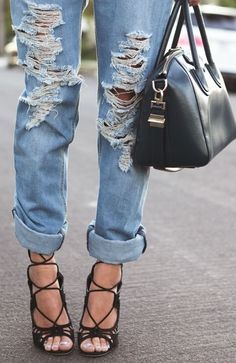 Ripped jeans + lace up heels