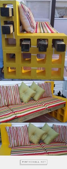My version of the cute cinder block benches I have seen. I hope everyone likes the improvements I have made - created via http://pinthemall.net P.S. The white strips you see are the moving straps I placed before moving the pieces to the back yard.