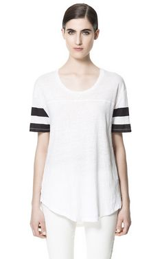 Image 1 of STRIPED SLEEVE T-SHIRT from Zara