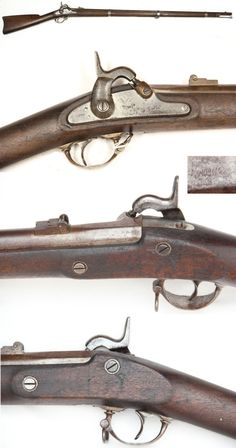 Genuine 1861 Springfield Musket with matched 1862 Dates: This model was made only in 1861 and 1862 at the Springfield Armory. A true Springfield Armory gun from muzzle to butt. This is the standard Union Army infantry weapon of the Civil War.