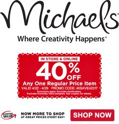 Exp 4 29 Save 40 Off Any One Regular Priced Item At Michaels