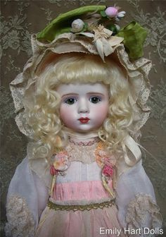 A. Marque  Reproduction porcelain doll by Emily Hart Silk & Antique lace costume