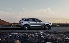 Download wallpapers Jaguar F-Pace SVR, 2019, 4k, luxury SUV, exterior, side view, silver F-Pace, tuning, SVR, British cars, Jaguar