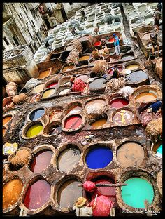 The leather tanneries of Fez, Morocco are located in the old town nearby the Karaouine Mosque. Photo: flickr.com/photos/bentaher