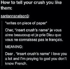 Now you and me know what to do if one of us have a crush, btw you even don't know how proud i am of myself couse i understood half sentence in French without checking meaning.