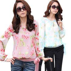 2015 Womens Chiffon Long Sleeve Crew Neck Casual Shirt Blouse Fashion Tops - http://www.freshinstyle.com/products/2015-womens-chiffon-long-sleeve-crew-neck-casual-shirt-blouse-fashion-tops/