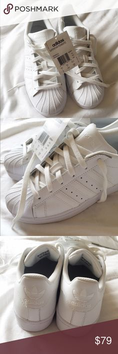 White Adidas Superstar Foundations 4.5 I'm selling these while adidas superstars! these are the originals in a men's 4.5, which fits a women's 6-6.5. Adidas Shoes Sneakers