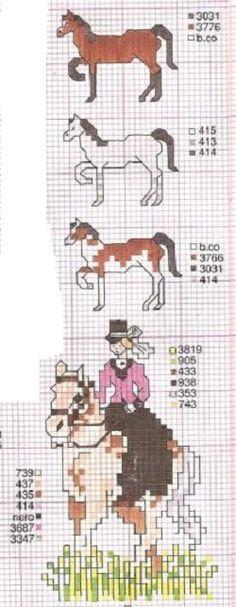 0 point de croix femme à cheval - cross stitch lady riding a horse