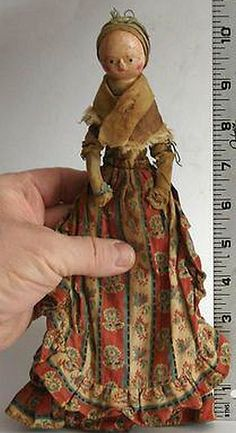 Antique Doll Queen Anne 18th C Original - 10 Inches.