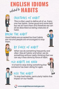 🔴Here you will learn common English idioms related to habits. Idioms in English with meanings and examples. English Vinglish, Better English, English Idioms, English Phrases, English Study, English Lessons, English Grammar, French Lessons, Spanish Lessons
