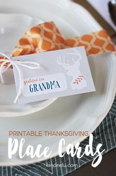 FREE Printable Thanksgiving Place Cards | landeelu.com Add text or hand write your Thanksgiving guest's names on these adorable printable place cards!