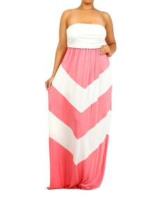 This Coral & White Chevron Strapless Maxi Dress - Plus by J-Mode USA Los Angeles is perfect! #zulilyfinds
