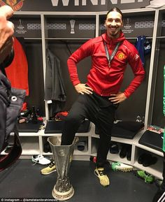 Zlatan Ibrahimovic posted a picture of himself with his foot in the Europa League trophy...