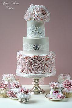 Romantic Wedding Cake with Peonies from weddingmeyou.com