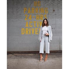 31 Perfect Looks To Copy This October #refinery29  http://www.refinery29.com/october-outfit-of-the-day-ideas#slide-25  Pair your pantsuit with a tee underneath for ultimate boss vibes.Rebecca Minkoff blazer, pants, and bag, Gianvito Rossi shoes, Anarchy Street bracelet....