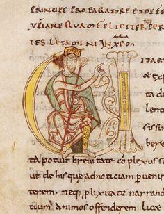 Vie de Charlemagne par Eginhard, lettrine V historiée Charlemagne assis, Abbaye St-Martial de Limoges (Haute-Vienne).
