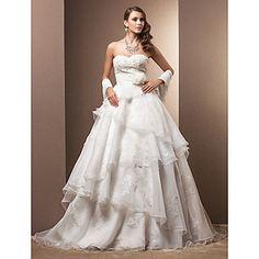 tribunal tren vestido de novia de organza A-Line/Princess – USD $ 299.99