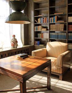 Eliel Saarinen House, built in 1930 at the Cranbrook School of Art, MI. Living room reading annex with Saarinen's pendant lamp. http://www.fastcodesign.com/3040687/the-remarkably-intimate-houses-of-father-son-architects-eliel-and-eero-saarinen#10