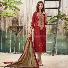 Maroon and Cream Straight Churidar Suit #rajwadi #embroidery #dress #ethnic #FeelRoyal #traditional #indowestern