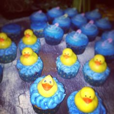 Baby shower rubber ducky cupcakes