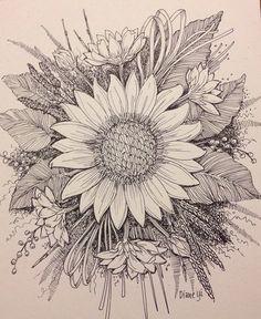 """""""Sunflower"""" by Diane Yi 2014 Tatoo Art, Body Art Tattoos, Tattoo Drawings, New Tattoos, Small Tattoos, Cool Tattoos, Tatoos, Painting Tattoo, Dot Painting"""