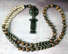Ethnic African Jewelry - Tribal Necklace - Statement Necklace - Hand Carved African Beads - Ethnic Necklace - Fertility Pendant - Beadwork. $82.00, via Etsy.