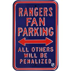 Authentic Street Signs New York Rangers Parking Sign, Team