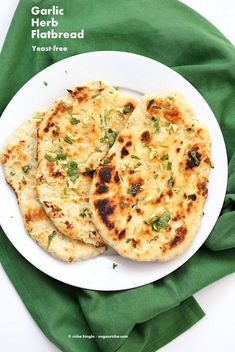 Garlic flatbread recipe No Yeast. This easy garlic herb flatbread has no yeast, doesn't need hours to rest, and has a secret ingredient. Vegan Recipe.