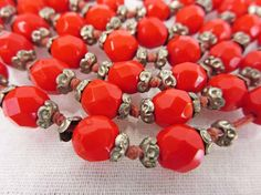 Antique Red Czech Necklace, Flapper Necklace, Long Beaded Necklace, Cherry Red 20's Necklace - 2GoodPoniesVintage