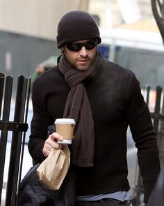 winter black sweater, beanie, and scarf / men fashion