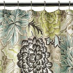 Home Classics Reiko Floral Fabric Shower Curtain (I've seen this curtain several times in the other pin with the towels rolled! Love this!)