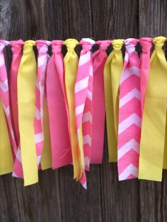 Lemonade Stand Pink and Yellow Chevron Rag Tie Garland - Lemonade Stand Birthday Banner - Pink and Yellow Party Backdrop