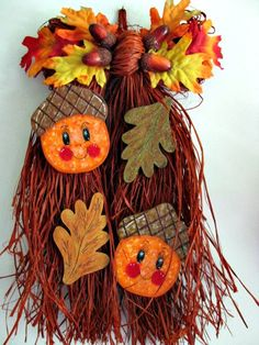 Acorn Bow Raffia Fall decor/door hanger fall leaves by loisling