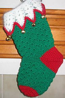 Bells and shells free crochet pattern christmas stocking