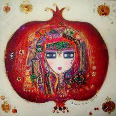 Canan Berber, Pomegranate Art - I never knew how much pomegranate art there is before Etsy Pomegranate Art, Lilac Painting, Turkish Art, My Art Studio, Jewish Art, Fruit Art, Watercolor Art, Art Drawings, Graffiti