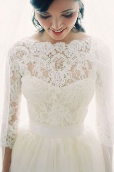 30 Gorgeous Lace Sleeve Wedding Dresses | lots of sleeves options! I wonder if the lace itches tho....