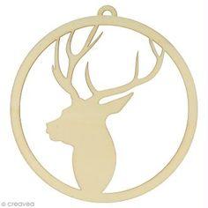 Forma de madera para decorar - Navidad Escocesa - Cabeza de ciervo 15 cm - 1 ud