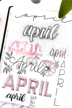 Best April Bullet Journal Header Ideas For 2020 - Crazy Laura If you need help starting out your spreads and layouts for the month, then check out these super cute bullet journal april headers for inspriation! April Bullet Journal, Bullet Journal Notebook, Bullet Journal Inspo, Bullet Journal Ideas Pages, Art Journal Pages, Art Journals, Bullet Journal Inspiration Creative, Bullet Journal Title Page, Bullet Journal Lettering Ideas